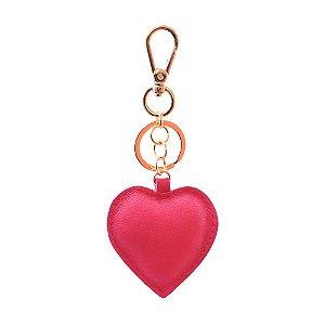 Chaveiro em Couro Modelo Coração Rosa