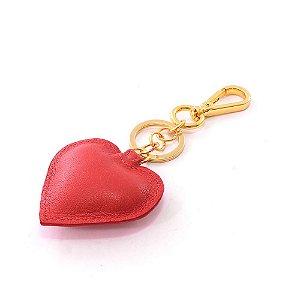 Chaveiro em Couro Modelo Coração Vermelho