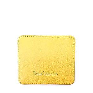 Porta Cartão Maria Verônica Pequeno Couro Legítimo Amarelo