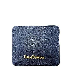 Porta Cartão Maria Verônica Pequeno Couro Legítimo Azul Marinho