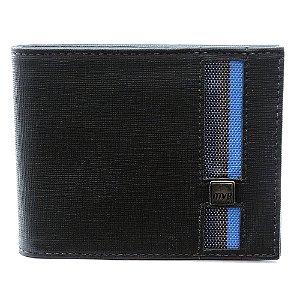 Carteira Masculina MVB Couro Preto/Azul