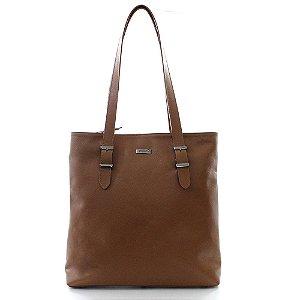 Bolsa Feminina PPOETA Shopping Bag Couro Caramelo