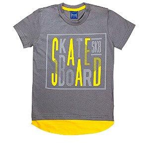 Camiseta Infantil Masculina Skate Board Cinza - Tileesul