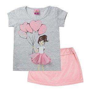 Conjunto Infantil Feminino Bailarina Mescla - Tileesul
