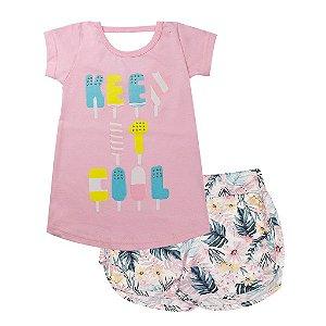 Conjunto Infantil Feminino Batinha Keep Rosa - Tileesul