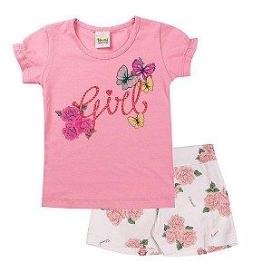 Conjunto Infantil Feminino Girls Rosa - Tileesul