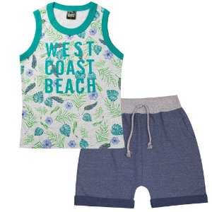 Conjunto Infantil Masculino Beach Floral Verde - Tileesul