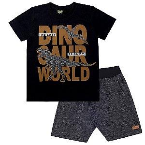 Conjunto Infantil Masculino Dino World Preto - Tileesul