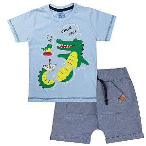 Conjunto Infantil Masculino Jacarezinho Azul - Tileesul