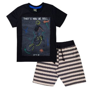 Conjunto Infantil Masculino Meia Malha e Bermuda Moletim Preta - Tileesul