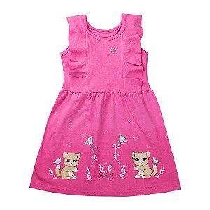 Vestido Infantil de Gatinhos Liso Rosa - Tileesul