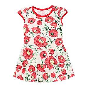 Vestido Infantil Feminino Cotton Brush Estampado Vermelho - Tileesul