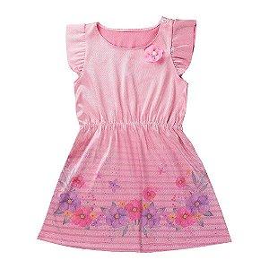 Vestido Infantil Menina Denim Bright Rosa - Tileesul