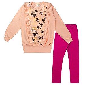 Conjunto de Moletom Feminino Infantil Estampa Flores Rosa