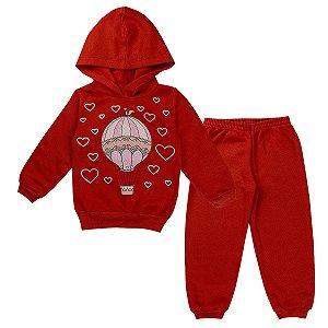 Conjunto de Moletom Feminino Infantil Corações Vermelho