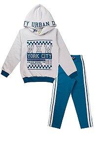 Conjunto de Moletom Infantil Masculino New York Cinza Capuz