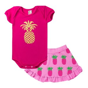 Conjunto Body Infantil Menina Abacaxi Pink - Isensee
