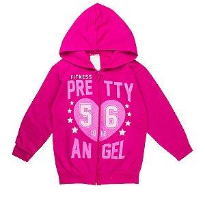 Jaqueta Infantil Feminina Pretty Angel Pink Com Capuz