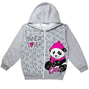 Jaqueta Infantil Feminina Panda Lover Estampada Com Capuz