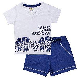 Conjunto Infantil Menino Camisa Bom Pirata Branco - Fantoni