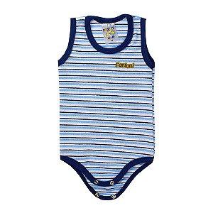 Body Infantil Bebê RN Listrado Azul - Fantoni