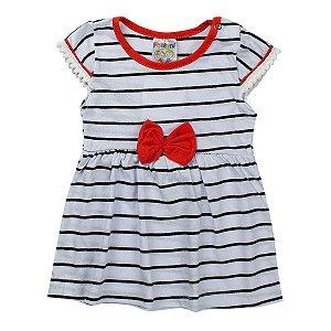 Vestido Listrado Infantil Bebê Detalhe Salmão - Fantoni
