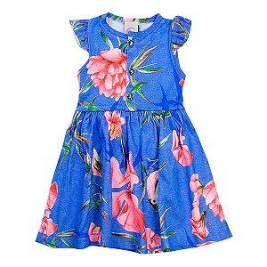 Vestido Infantil Feminino Floral Azul - Costão Mini