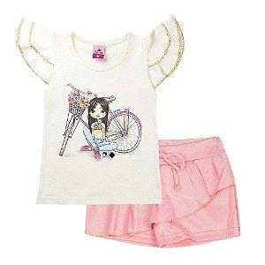 Conjunto Infantil Feminino Bicicleta Pérola - Tileesul