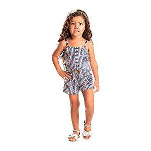 Conjunto Infantil Feminino Cropped Brush Listra Azul - Tileesul
