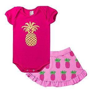 Conjunto Body Infantil Menina Abacaxi Pink - Isensee
