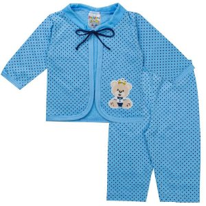 Conjunto Body Bebê Masculino Azul - Fantoni