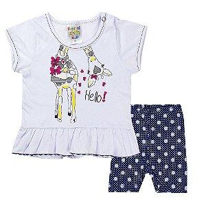 Conjunto Infantil Menina Hello Girafa Branco Com Marinho - Fantoni
