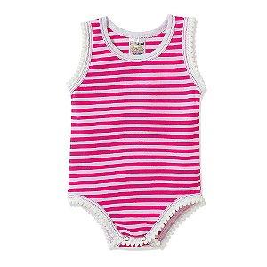 Body Infantil Bebê Listrado Pink - Fantoni