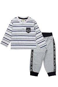 Conjunto Infantil Masculino Camiseta Listrada Calça Moletom