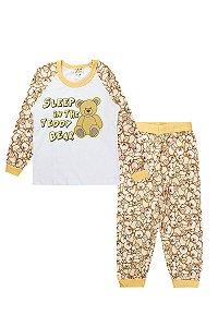 Pijama Infantil Feminino Raglan Meia Malha Branco Fantoni