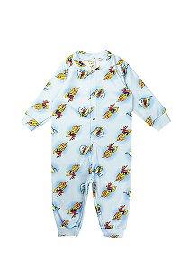 Macacão Infantil Masculino Soft Abertura Botão Azul Fantoni