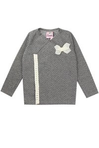 Casaco Kimono Infantil Menina Com Franjas Cinza - Vitalite