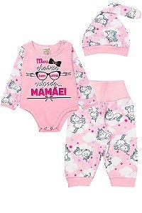 Pijama Infantil Feminino Raglan Meia Malha Rosa Fantoni