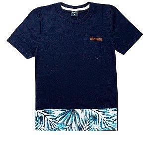 Camiseta Infantil Masculina Folhagem Marinho - TMX