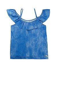 Blusa Ciganinha Feminina Infantil Azul - Costão Mini