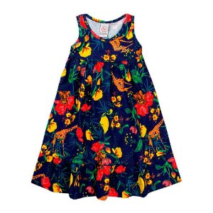 Vestido Infantil Feminino Bichos Marinho - Costão Mini