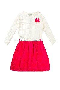 Vestido Matelasse Com Renda e Cinto Bege Com Pink
