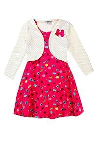 Vestido Infantil Com Bolero Estampado Bege Com Marinho