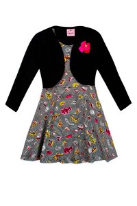 Vestido Infantil Com Bolero Estampado Preto Floral