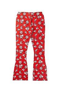 Calça Legging Infantil Menina Estampa Rotativa Vermelha