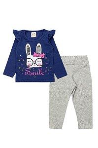 Conjunto Infantil Bebê Menina Smile Marinho