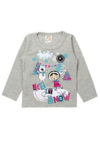Blusa Infantil Bebê Menina Let It Snow Mescla