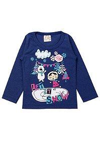 Blusa Infantil Bebê Menina Let It Snow Marinho
