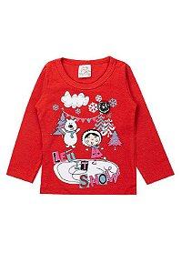 Blusa Infantil Bebê Menina Let It Snow Vermelha