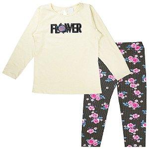 Conjunto Infantil Feminino Flower Pérola Analê